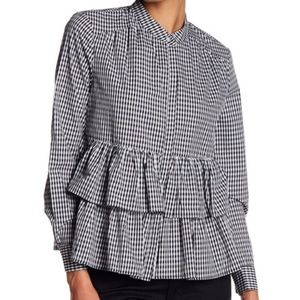 DR2 by Daniel Rainn Checked Ruffle Blouse  NWT